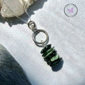 Seraphinite Disc Silver Hoop Pendant Necklace